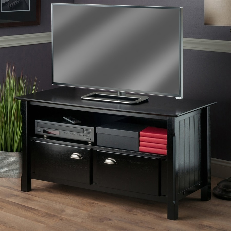 Winsome Wood Timber Black Rectangular Television Cabinet
