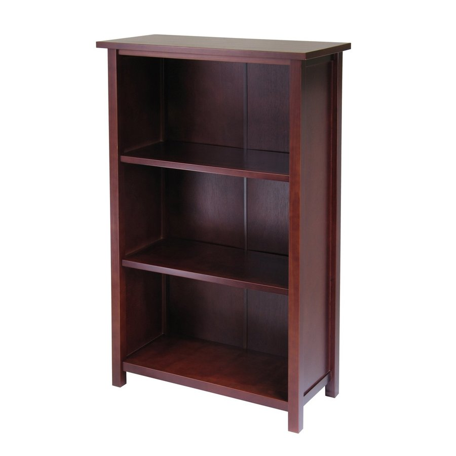 Winsome Wood Milan Antique Walnut 28-in W x 43-in H x 13-in D 3-Shelf Bookcase