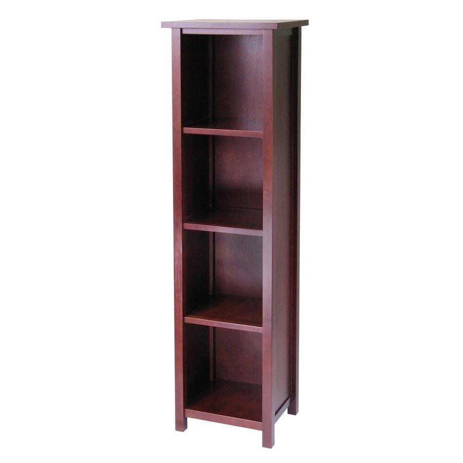 Winsome Wood Milan Antique Walnut 16.5-in W x 56-in H x 13-in D 4-Shelf Bookcase