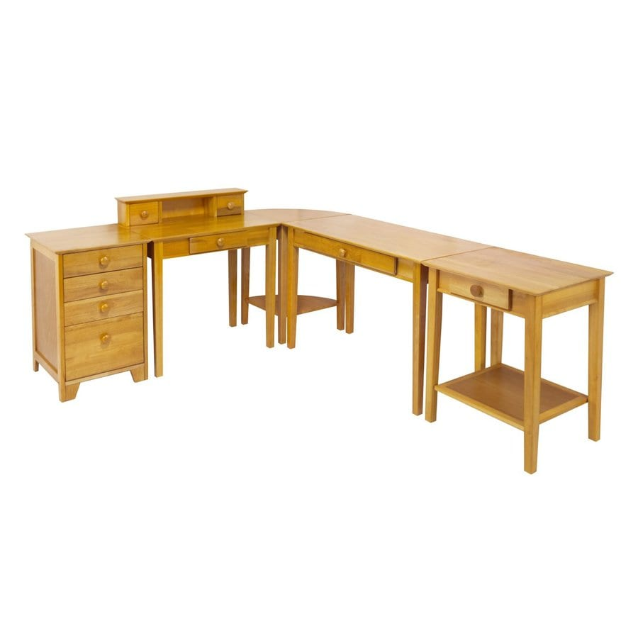 shop winsome wood studio honey l shaped desk at lowes