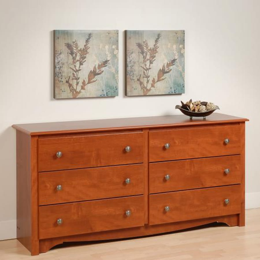 Shop prepac furniture monterey cherry 6 drawer dresser at for Cherry furniture