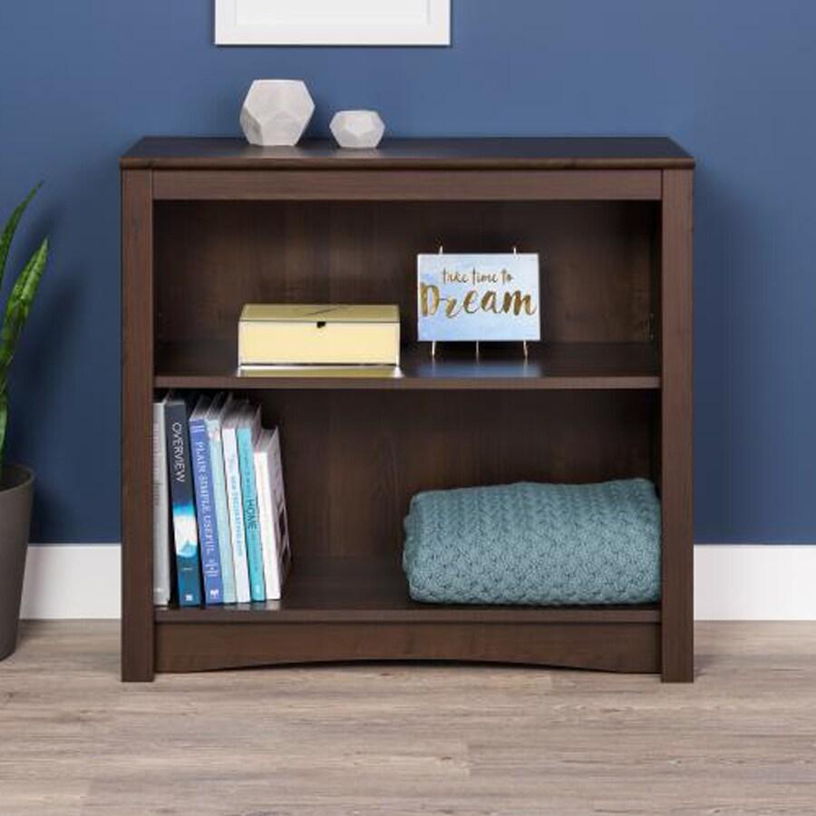 Prepac Furniture Espresso 31.5-in W x 29-in H x 13-in D 2-Shelf Bookcase
