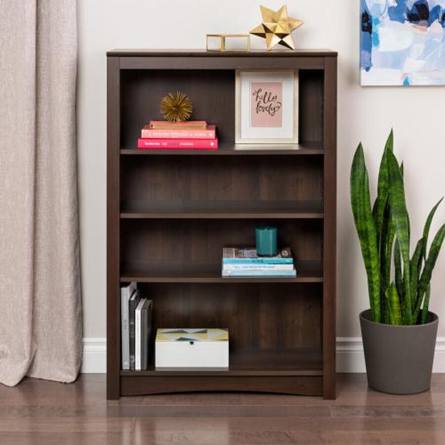 Prepac Furniture Espresso 31.5-in W x 48-in H x 13-in D 4-Shelf Bookcase