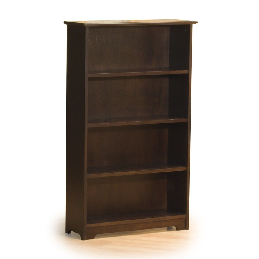 Atlantic Furniture Windsor Antique Walnut 32.5-in W x 54.5-in H x 12-in D 4-Shelf Bookcase