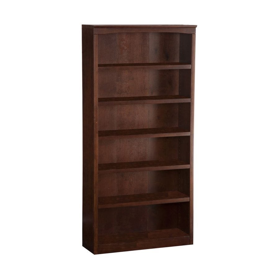 Atlantic Furniture Antique Walnut 36-in W x 72-in H x 12.5-in D 6-Shelf Bookcase