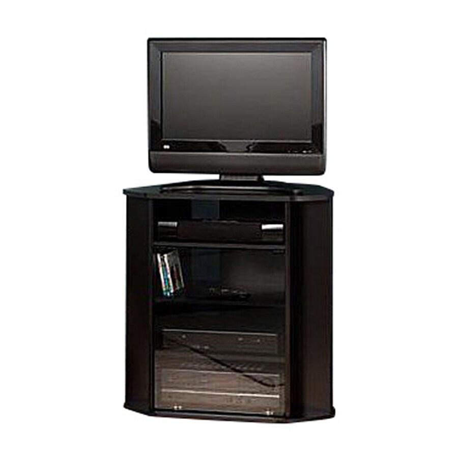 Bush Furniture Black Metallic Silver Corner Corner Television Stand