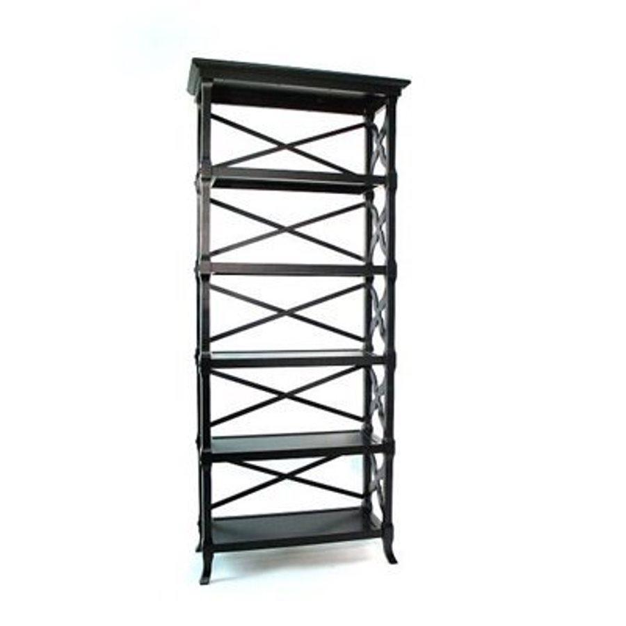 Wayborn Furniture Charter Black 32-in W x 73.5-in H x 14-in D 5-Shelf Bookcase