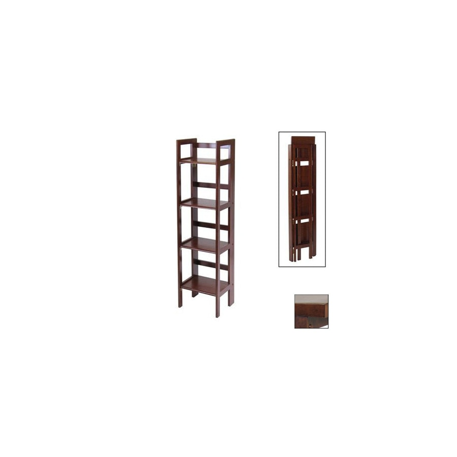 Winsome Wood Antique Walnut 51.5-in 4-Shelf Bookcase