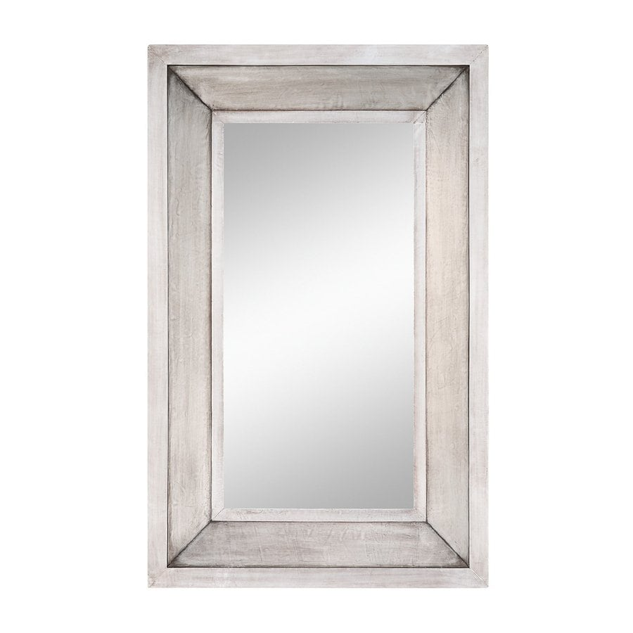 Cooper Classics Garner 28-in x 44-in Silver Beveled Rectangle Framed Transitional Wall Mirror