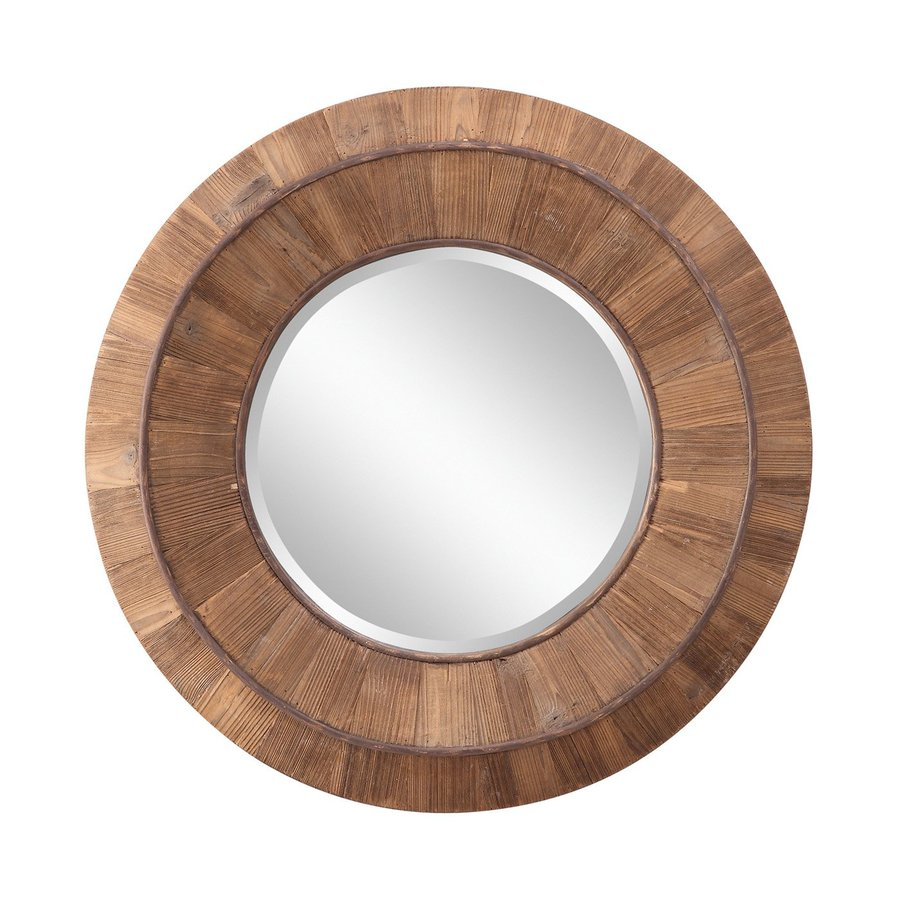 Cooper Classics Andrea 31.5-in x 31.5-in Natural Rustic Wood Beveled Round Framed Transitional Wall Mirror