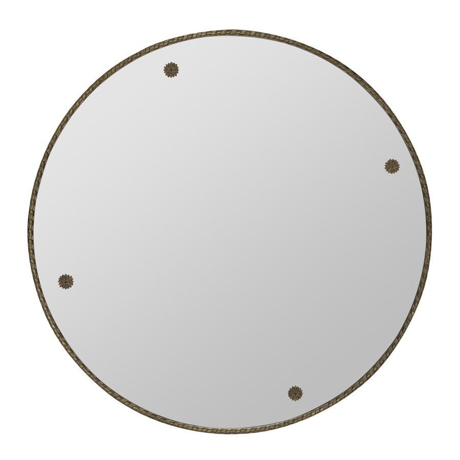 Cooper Classics Keynes 29-in x 29-in Antique Gold Polished Round Framed Contemporary Wall Mirror