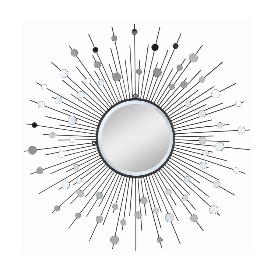 Cooper Classics Delaney 38-in x 38-in Silver Metal Beveled Round Framed Sunburst Wall Mirror