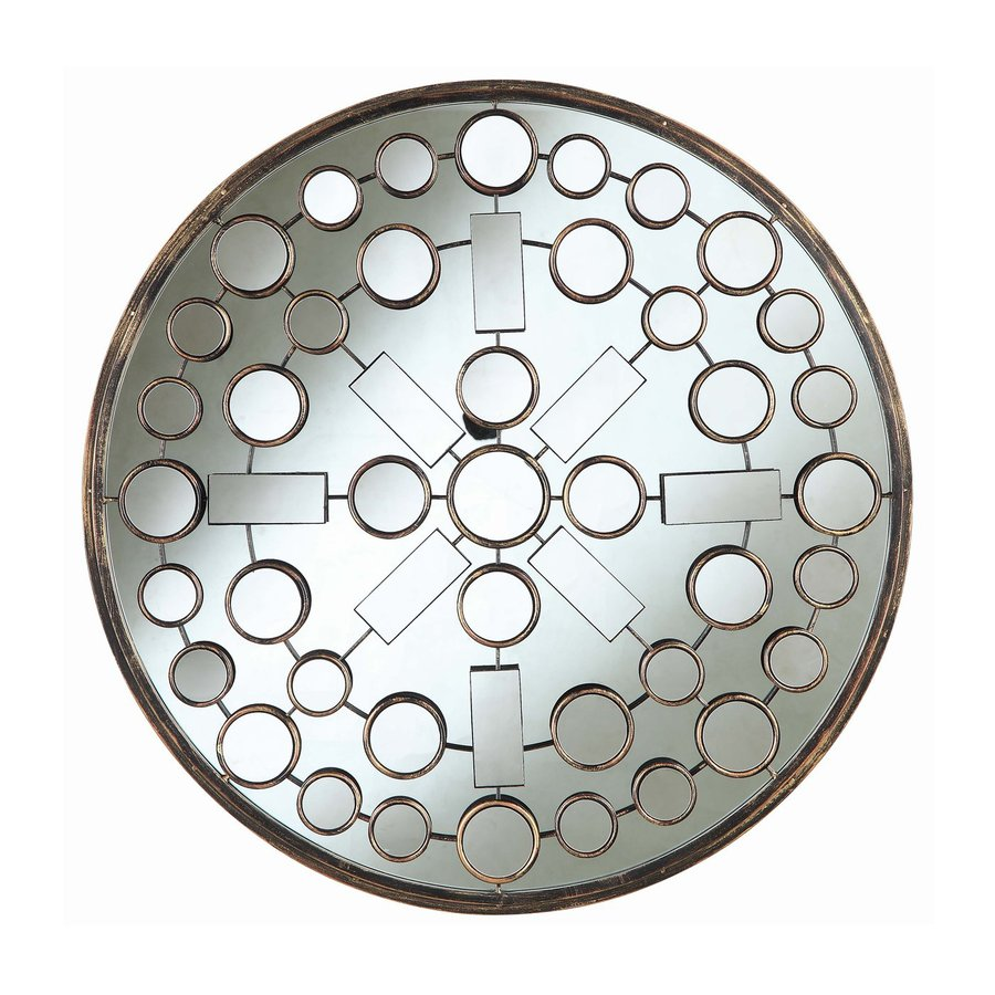 Cooper Classics Marbella 31.5-in x 31.5-in Brushed Bronze Polished Round Framed Mosaic Wall Mirror