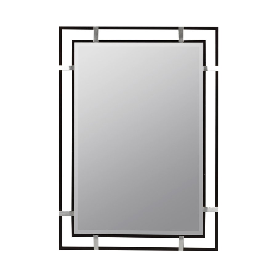 Cooper Classics Kinzie 24-in x 34-in Black Beveled Rectangle Framed Contemporary Wall Mirror