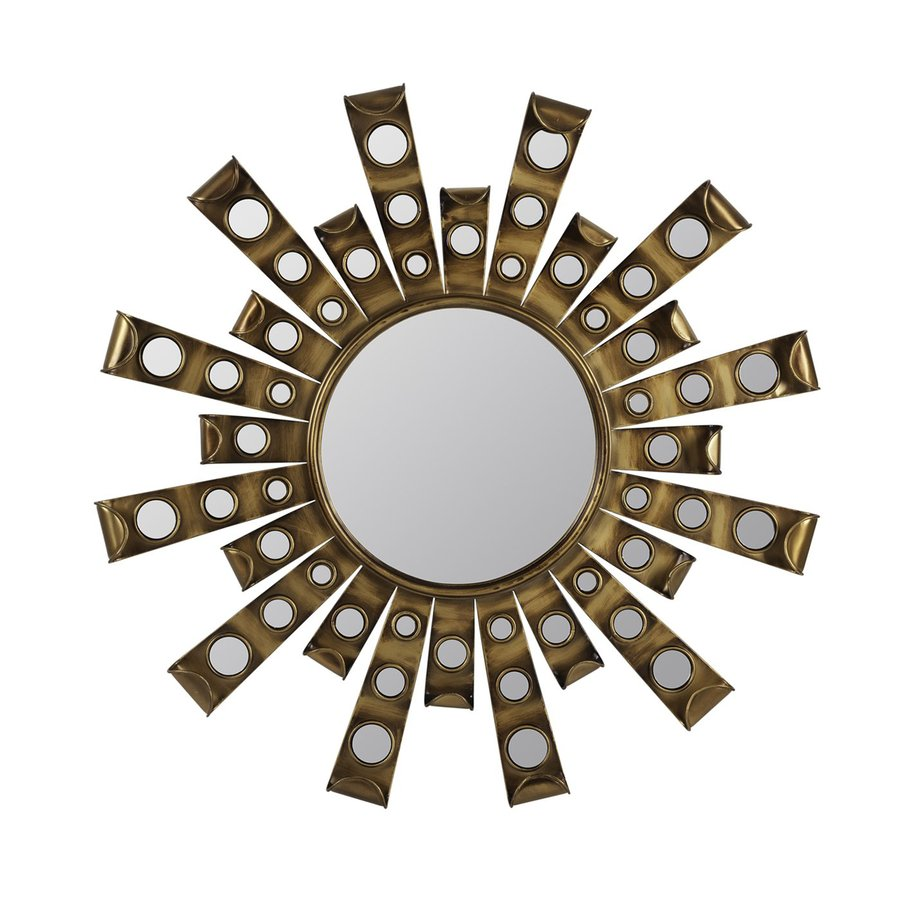 Cooper Classics Constance 28-in x 28-in Antique Gold Polished Round Framed Contemporary Wall Mirror