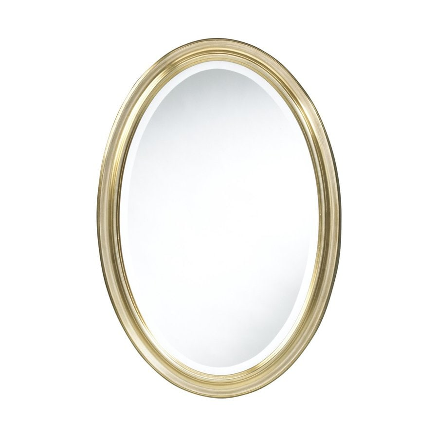 Cooper Classics Blake 31.5-in x 21.5-in Antique Gold Beveled Oval Framed Traditional Wall Mirror