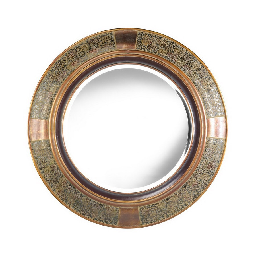 Shop cooper classics 35 in x 35 in aged copper black round for Round black wall mirror