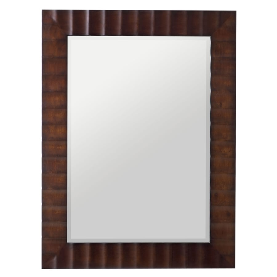Cooper Classics Savona 30-in x 42-in Washed Brown Beveled Rectangle Framed Transitional Wall Mirror