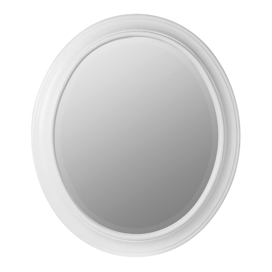 Cooper Classics Chelsea 26-in x 30-in Chesapeake White Beveled Oval Framed Transitional Wall Mirror