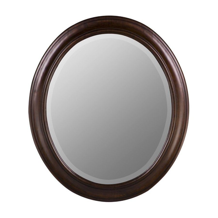 Cooper Classics Chelsea 26-in x 30-in Tobacco Beveled Oval Framed Transitional Wall Mirror