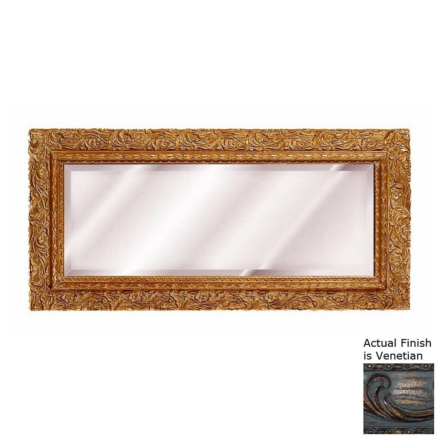 Hickory Manor House Carved Floral 40.5-in x 20-in Venetian Beveled Rectangle Framed Wall Mirror