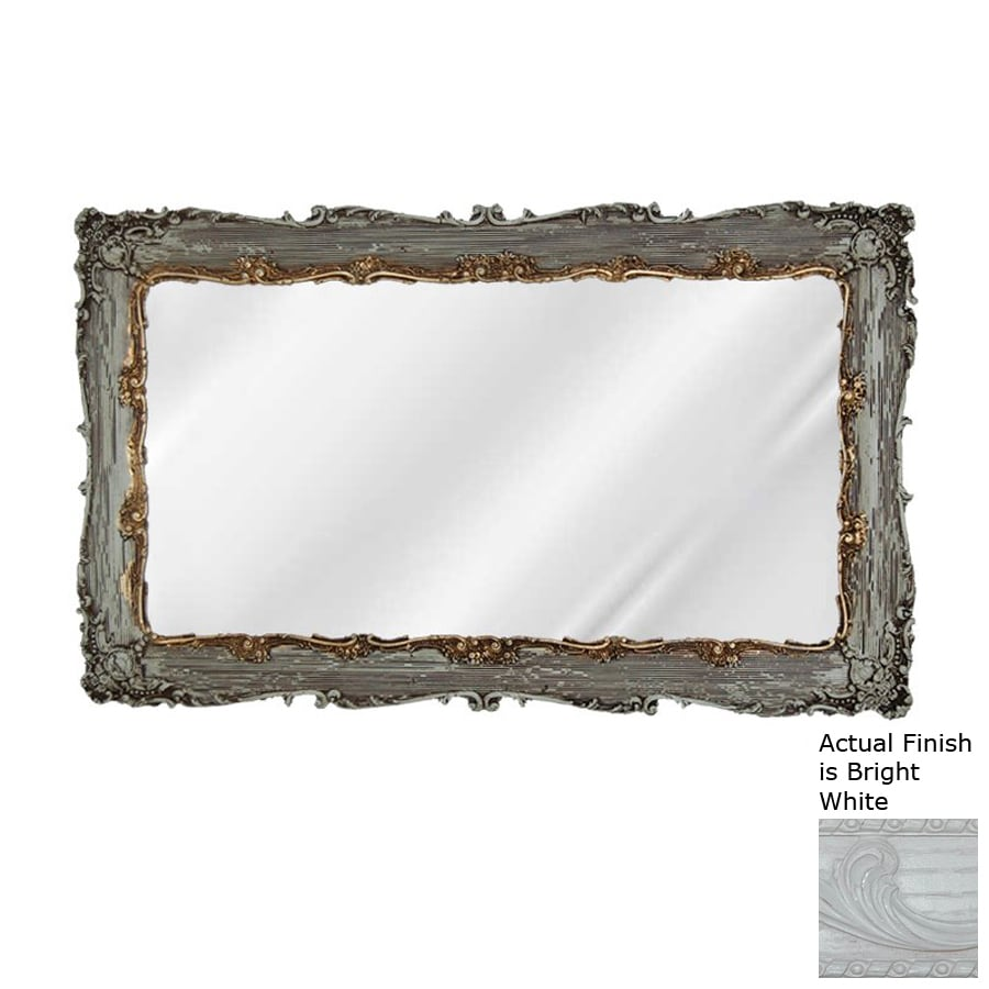 Hickory Manor House Decorative 33-in x 20-in Bright White Polished Rectangle Framed Wall Mirror