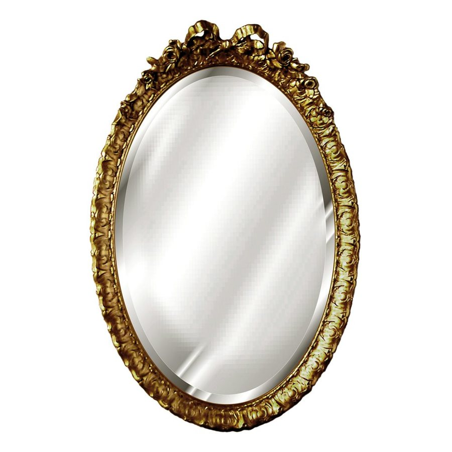 Shop hickory manor house bow 18 in x 28 in antique gold for Oval wall mirror
