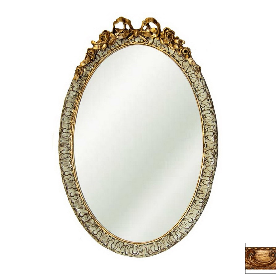 Shop hickory manor house 18 in x 28 in baroque oval framed for Baroque oval wall mirror