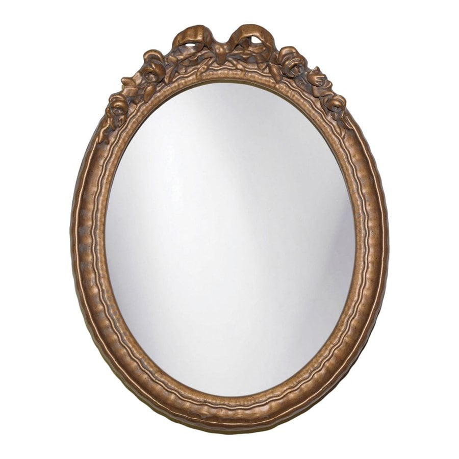 Hickory Manor House Bow 9.5-in x 12-in Antique Gold Polished Oval Framed Wall Mirror