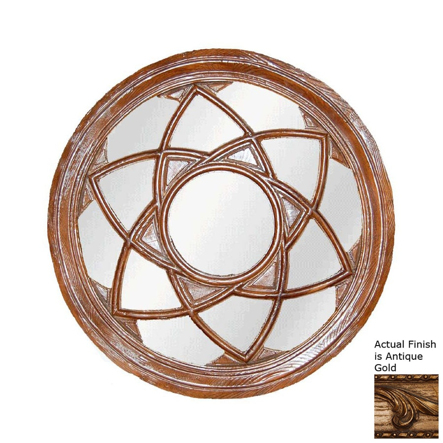 Hickory Manor House Star Circle 24.25-in x 24.25-in Antique Gold Polished Round Framed Wall Mirror