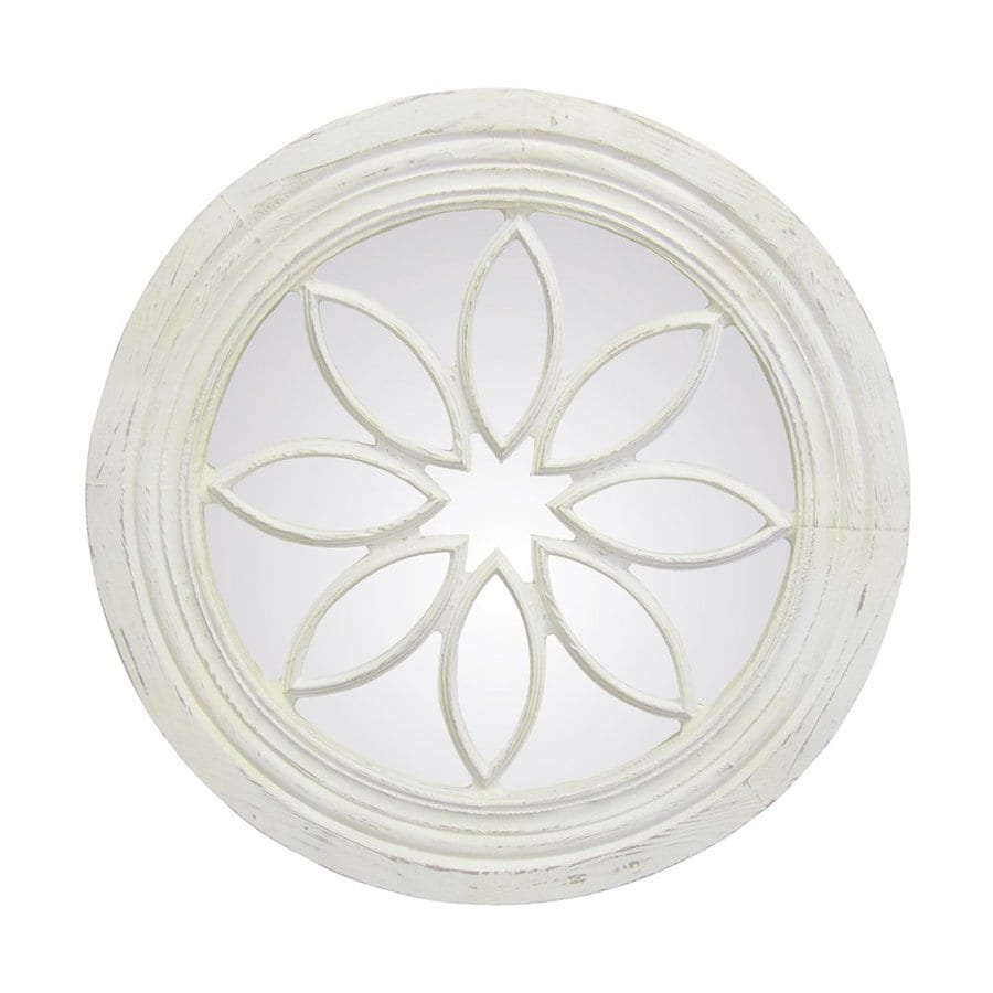 Hickory Manor House Petal Circle 24.25-in x 24.25-in Bright White Polished Round Framed Wall Mirror
