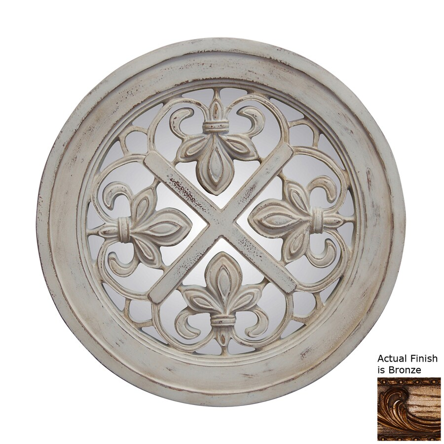 Hickory Manor House Fleur-De-Lis 21-in x 21-in Bronze Polished Round Framed French Wall Mirror