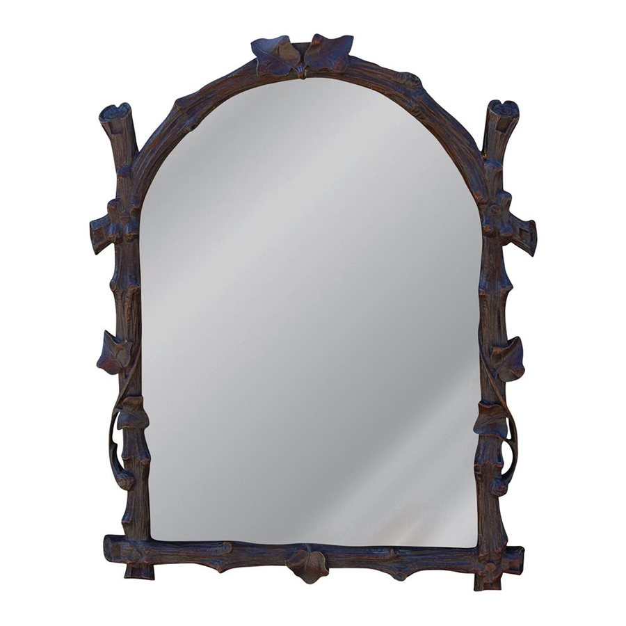 Hickory Manor House Twig 14.5-in x 19-in Walnut Polished Arch Framed Wall Mirror