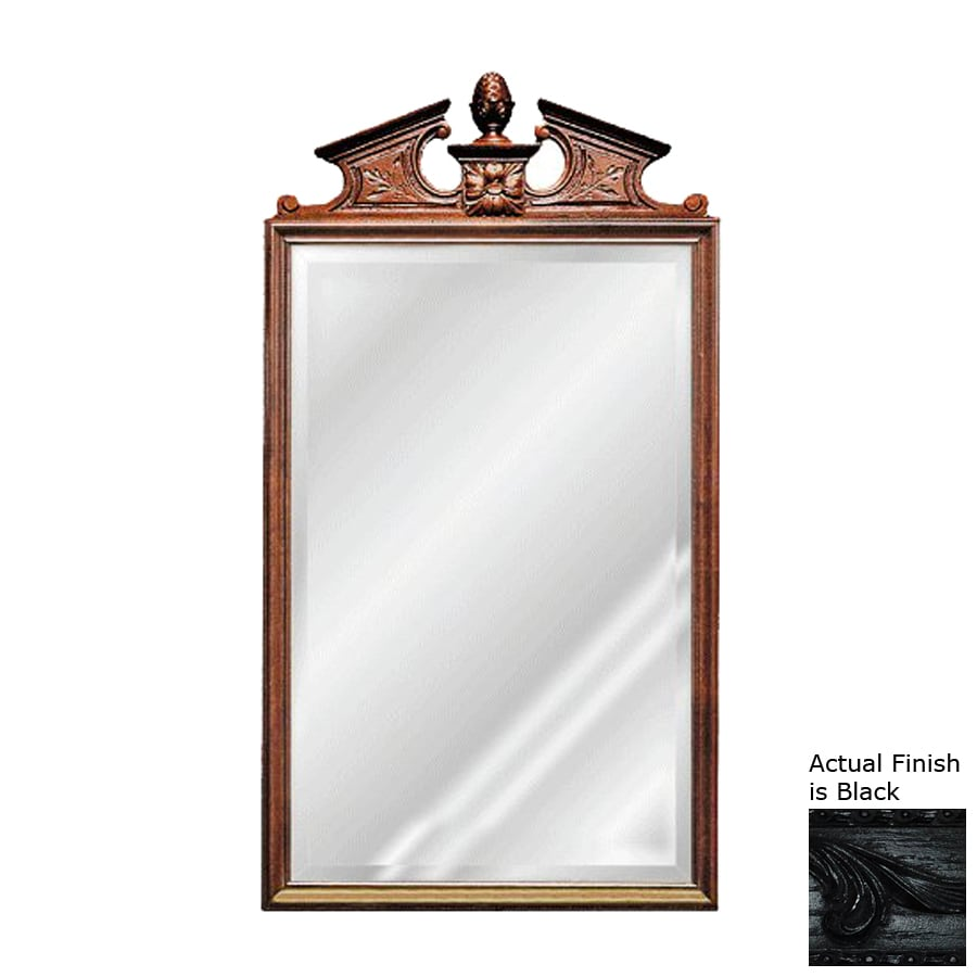 Hickory Manor House Pineapple Cartouche 24-in x 44-in Black Beveled Rectangle Framed Wall Mirror