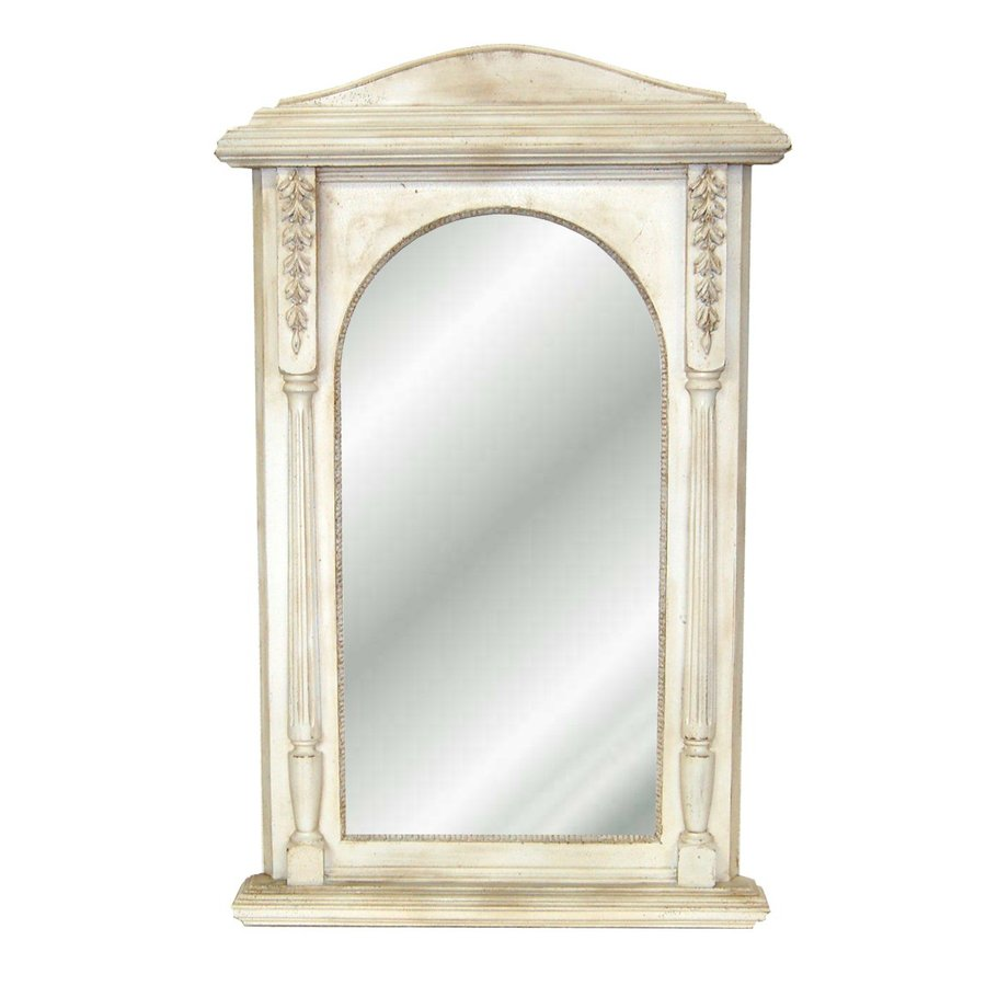 Hickory Manor House Nostalgic 25-in x 40-in Old World White Polished Arch Framed Wall Mirror