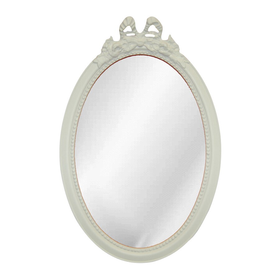 Hickory Manor House Beaded Bow 14-in x 26-in Bright White Beveled Oval Framed Wall Mirror