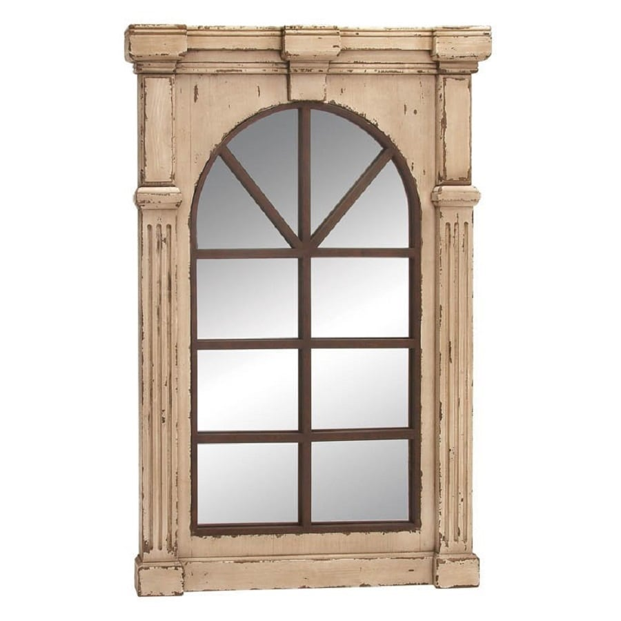 Woodland Imports 33-in x 48-in Shabby Brown Beveled Rectangular Framed French Wall Mirror