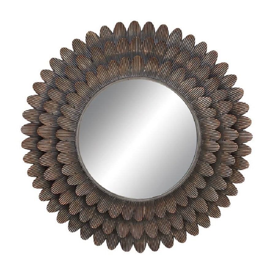 Woodland Imports 34-in x 34-in Brown Beveled Round Framed Wall Mirror
