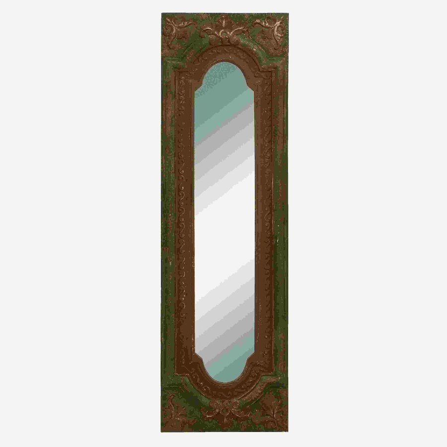 Woodland Imports Old Look 19-in x 64-in Rustic Brown Beveled Rectangular Framed Wall Mirror