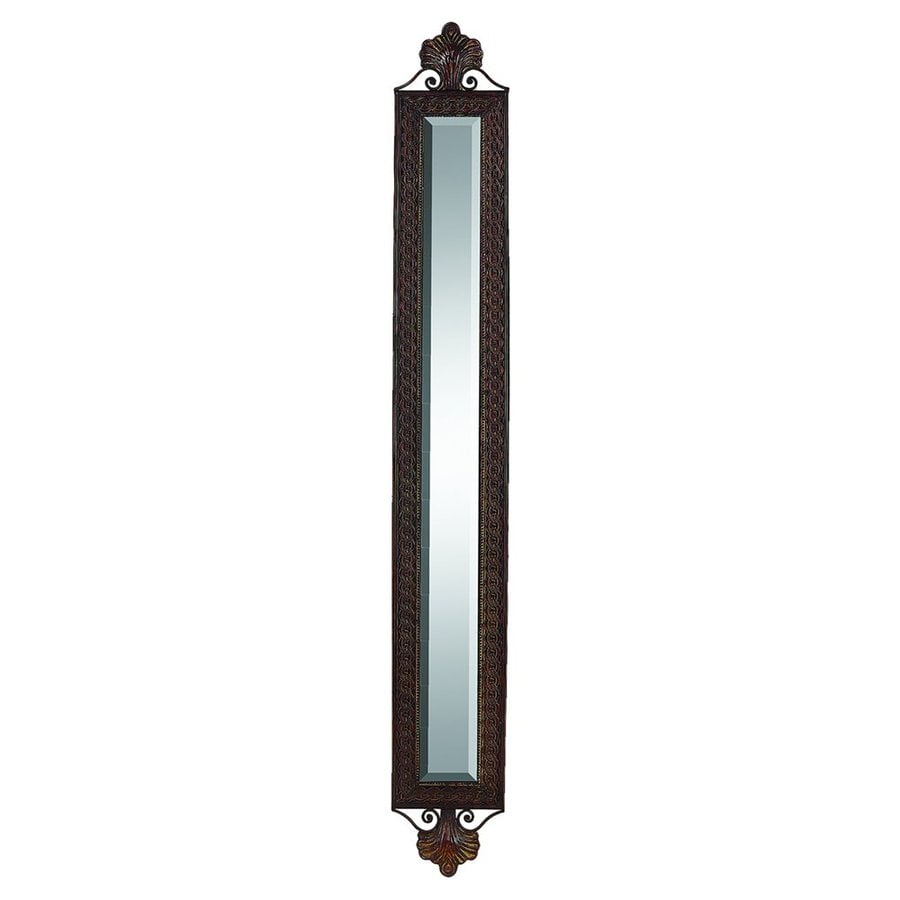Woodland Imports 8-in x 60-in Wood Brown Beveled Rectangular Framed Wall Mirror