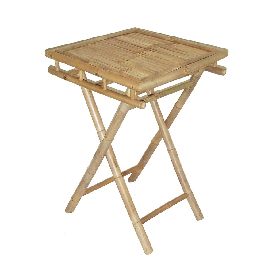 Bamboo 54 20-in x 20-in Square Wood Folding Table