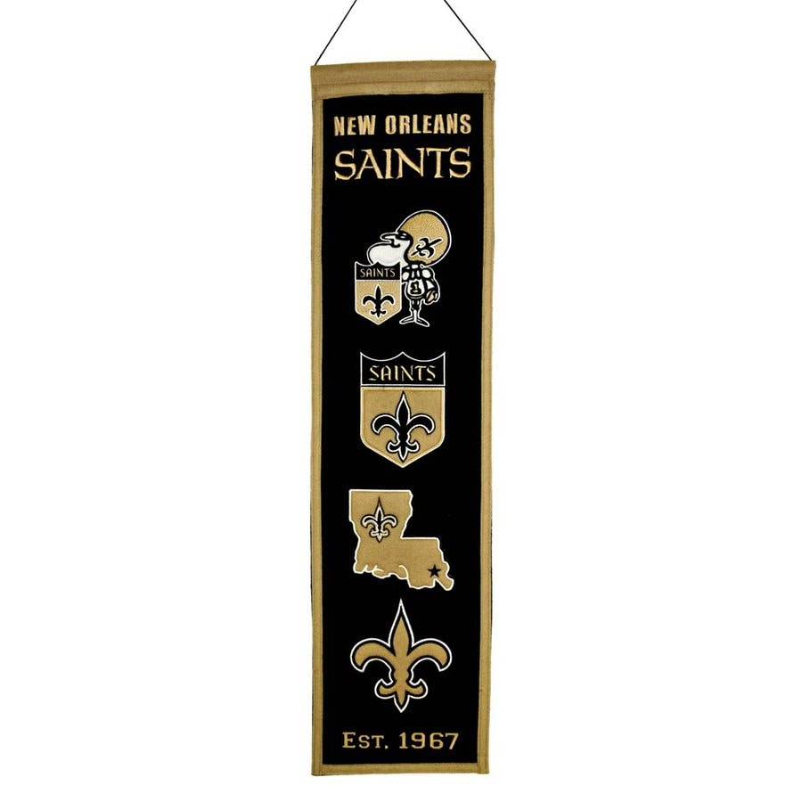Winning Streak 2.67-ft W x 0.67-ft H Embroidered New Orleans Saints Banner