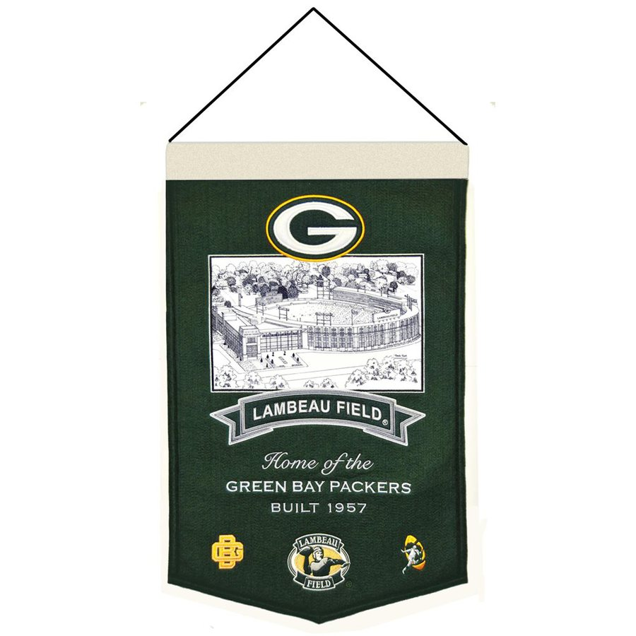 Winning Streak 1.25-ft W x 1.67-ft H Embroidered Green Bay Packers Banner