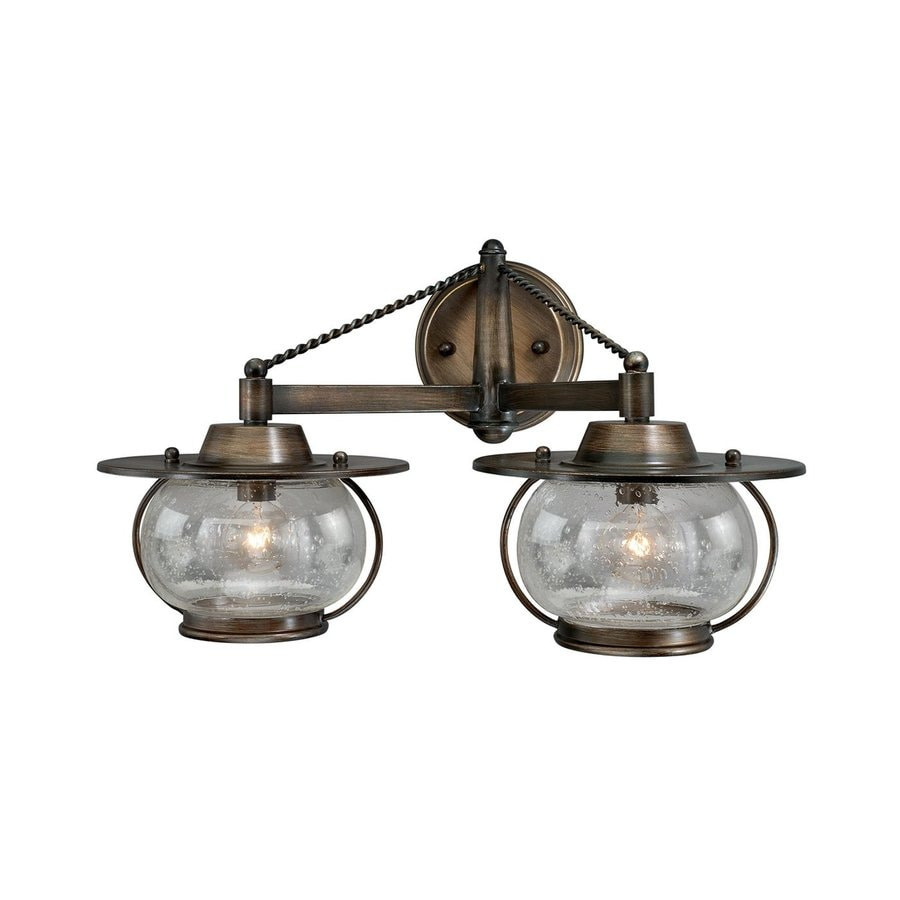 Lantern Bathroom Vanity Lights : Shop Cascadia Lighting 2-Light Jamestown Parisian Bronze Bathroom Vanity Light at Lowes.com