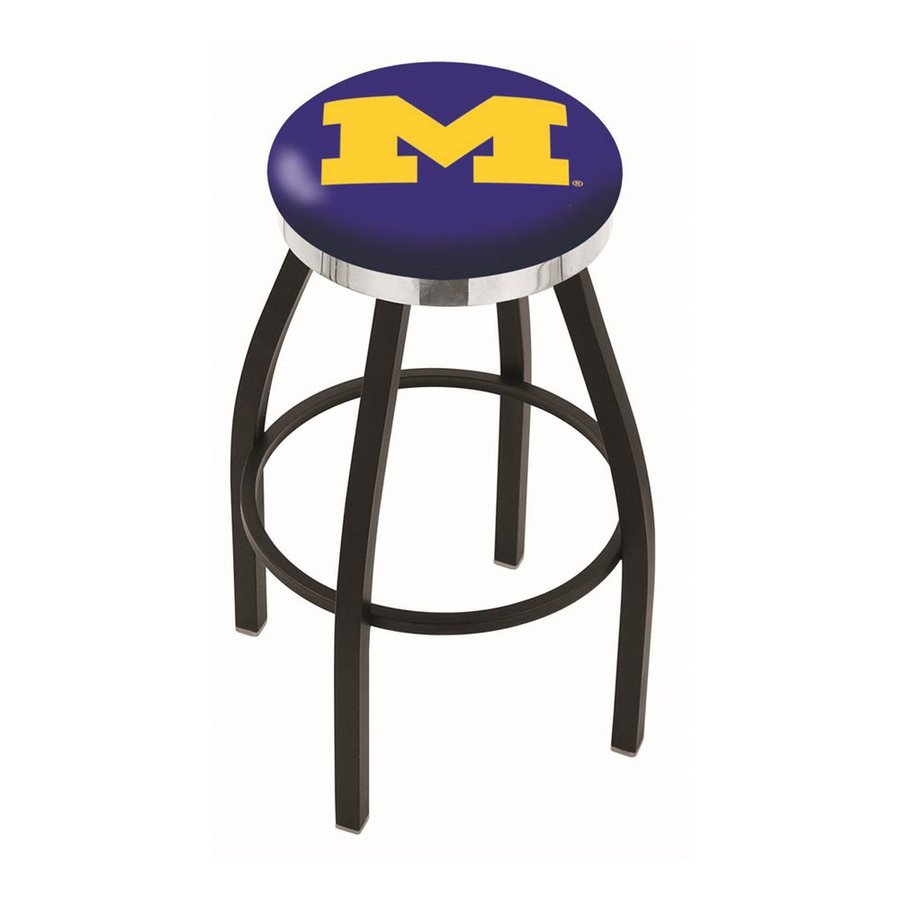 Holland University Of Michigan Wolverines Black Wrinkle/Chrome 30-in Bar Stool
