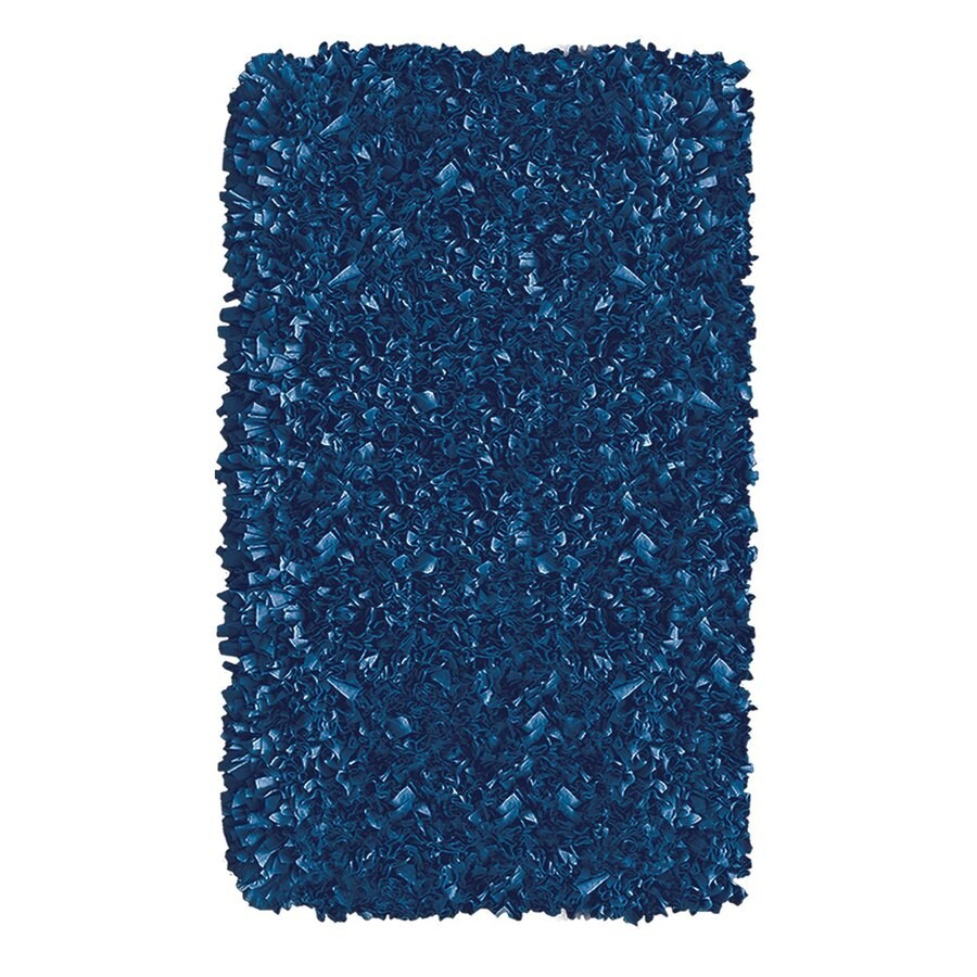 The Rug Market Shaggy Raggy Dark Blue Rectangular Indoor Shag Throw Rug (Common: 2 x 3; Actual: 22-in W x 34-in L)