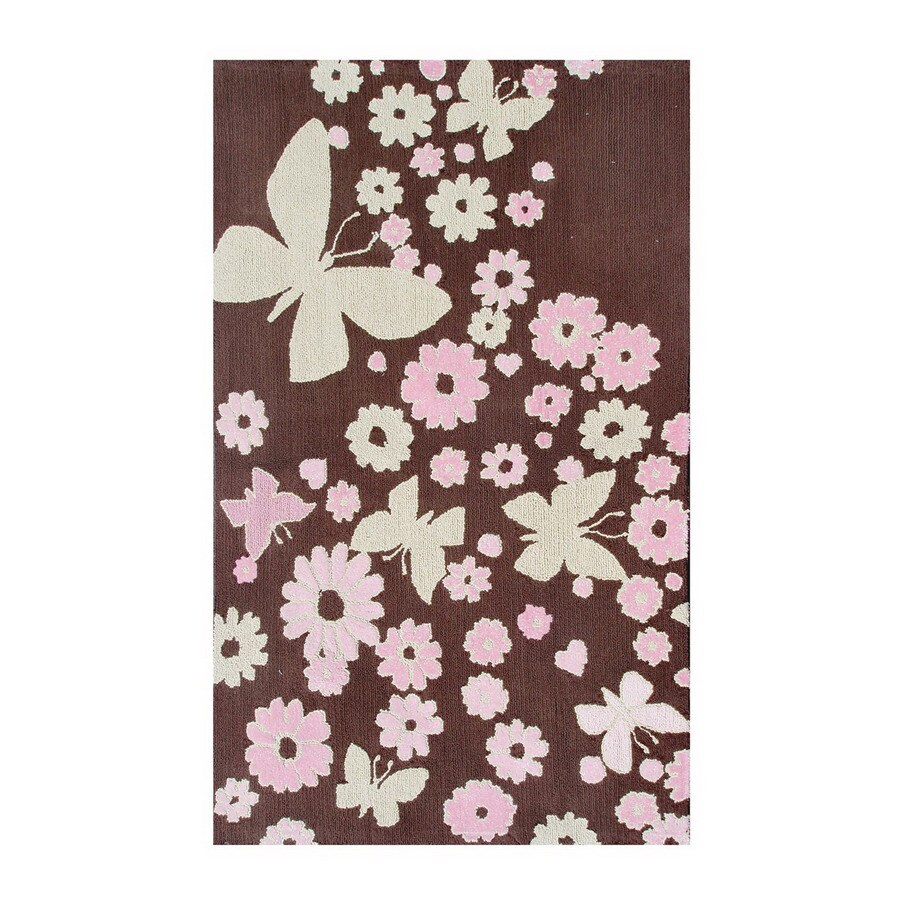 The Rug Market Kids Rectangular Brown Floral Accent Rug (Common: 3-ft x 5-ft; Actual: 32-in x 56-in)