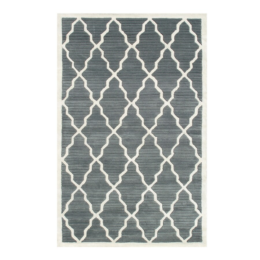The Rug Market Pemberly Grey/Ivory Rectangular Indoor Tufted Area Rug (Common: 8 x 11; Actual: 96-in W x 132-in L)