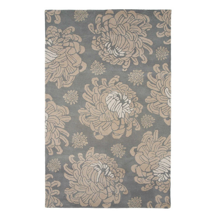 Jaipur Traverse 24-in x 36-in Rectangular Multicolor Floral Wool Accent Rug
