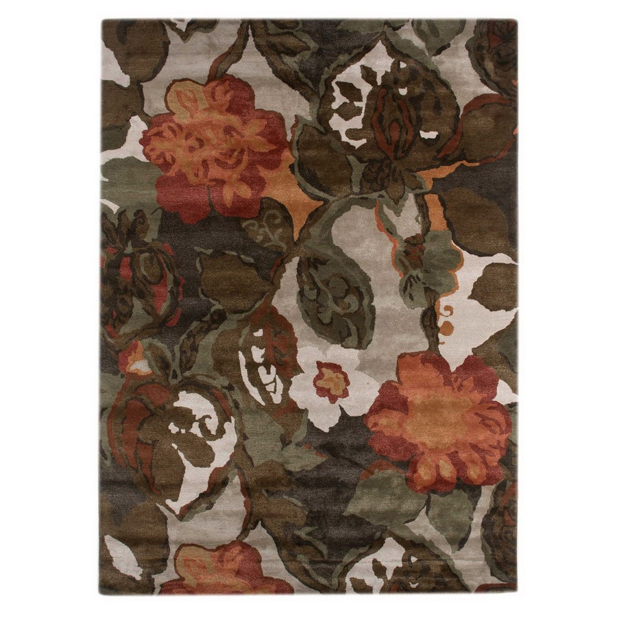 Jaipur Blue Rectangular Multicolor Floral Wool Accent Rug (Actual: 24-in x 36-in)